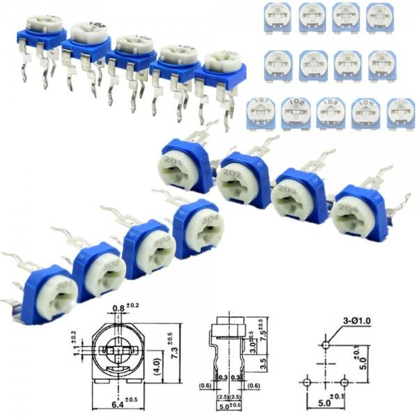 1-10 Stück Potentiometer Poti RM065 Carbon Film Trimpot Horizontal 100 -1MOhm