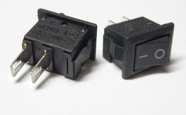 Wippschalter Ein/Aus 230V schwarz Kippschalter Schalter mini Einbauschalter