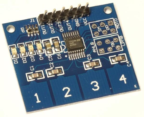 TTP224 4 Kanal Kapazitiv Sensor Modul 4 Tasten Touch Sensor Modul Arduino 23